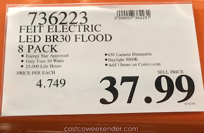 Deal for an 8 pack of Feit BR30 LED Flood Light Bulbs at Costco