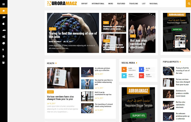 Esenmag Responsive Magazine News Blogger Template Theme