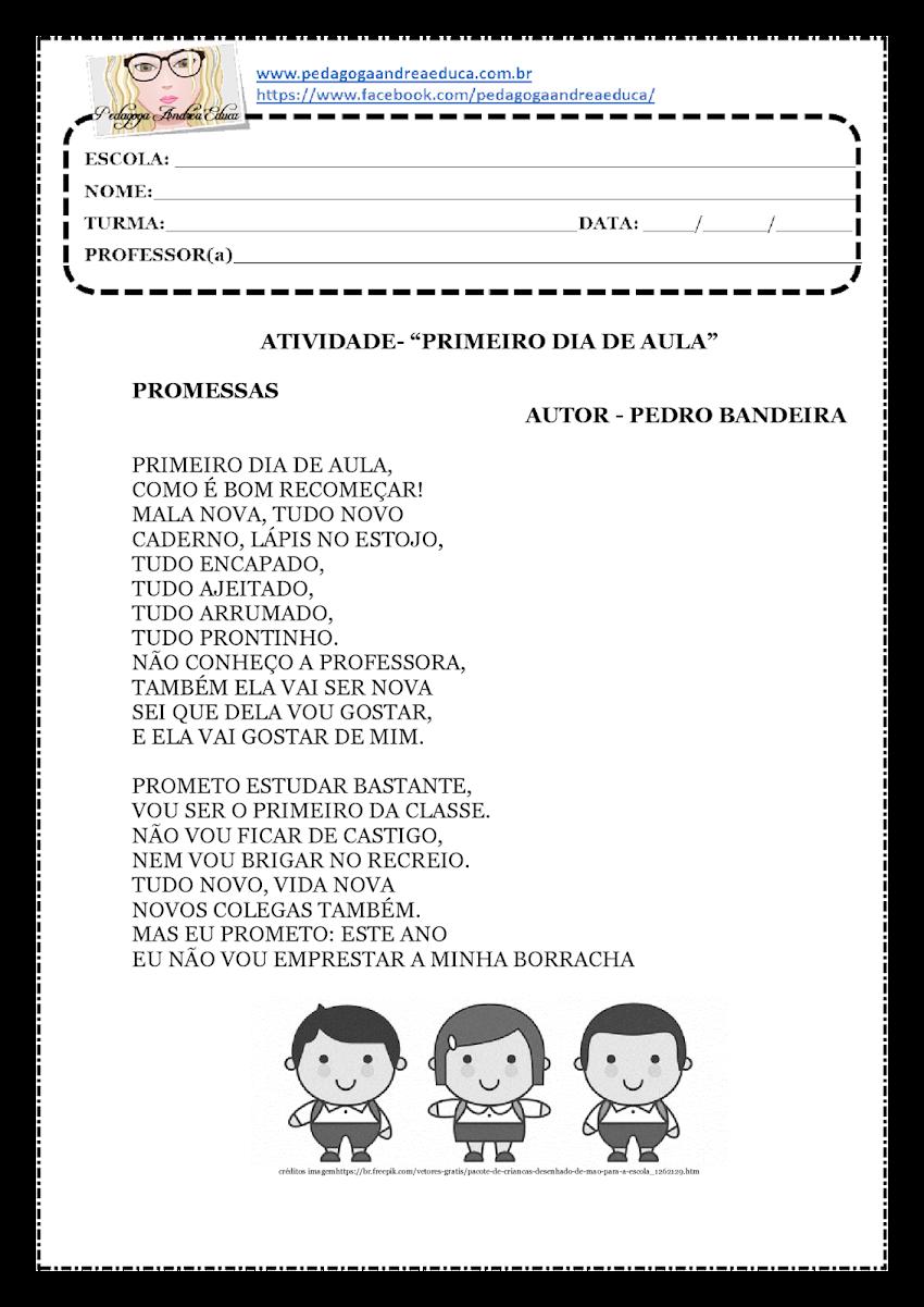 """ATIVIDADE PARA IMPRIMIR - 1º DIA DE AULA -  TEXTO """" PROMESSAS"""""""