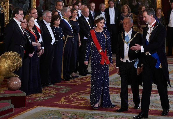 Queen Letizia wore a dress by Spanish fashion label Ana Locking kicked off its Spring - Summer 2017 , diamond tiara, diamond earrings