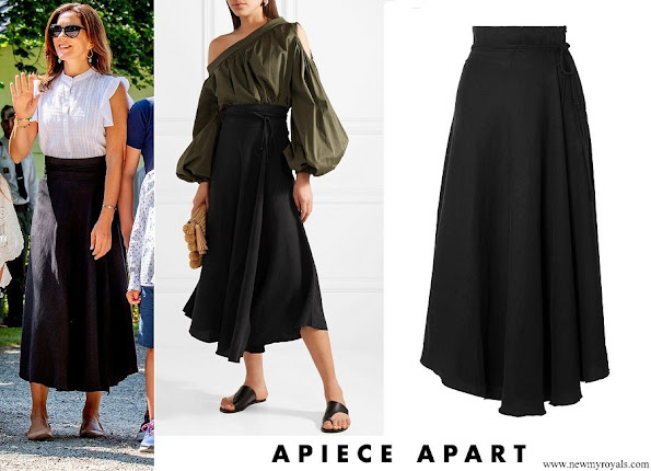 Crown Princess Mary wore APIECE APART Rosehip Tencel and linen blend wrap skirt