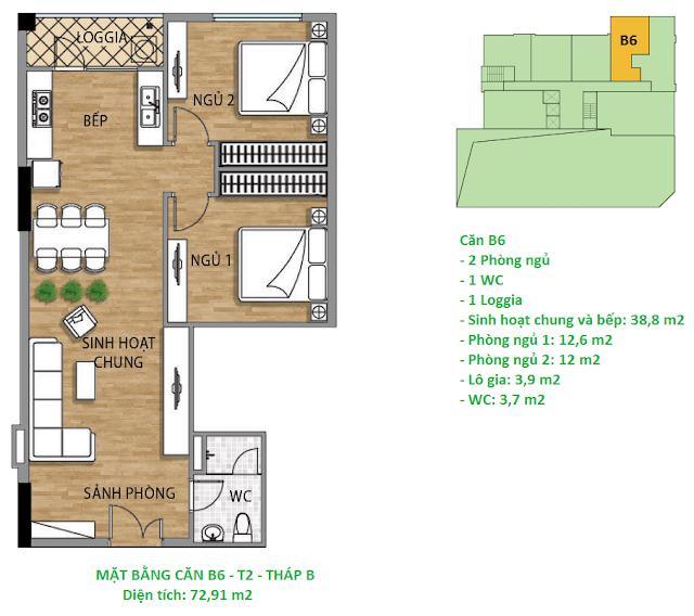 Căn hộ B6 diện tích 72,91 m2 tầng 2 Valencia Garden