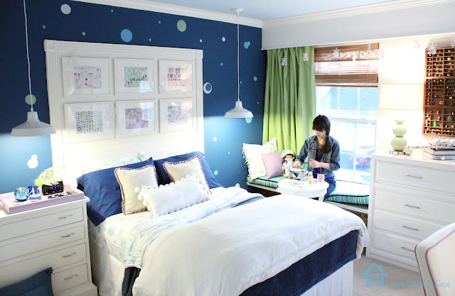 navy blue girl room with green accents