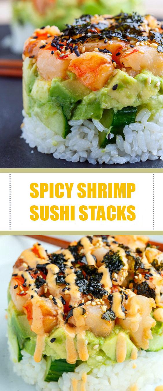 Spicy Shrimp Sushi Stacks