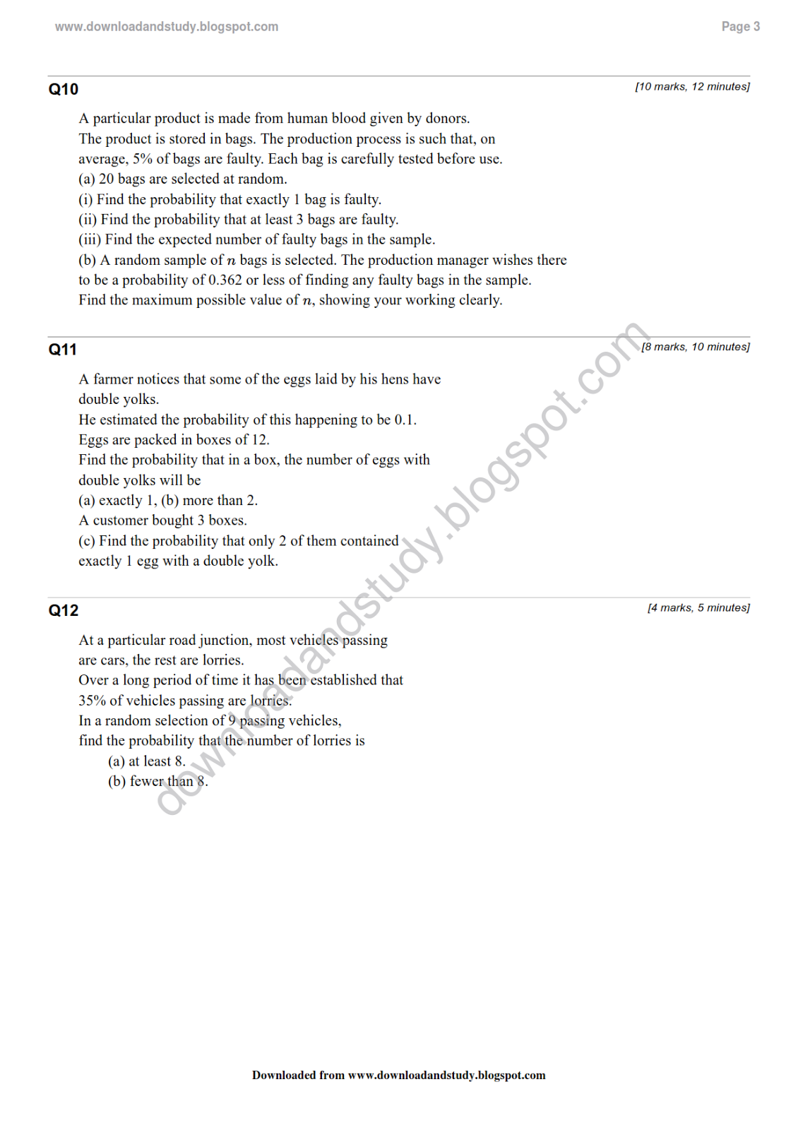 Statistics Binomial Distribution Worksheet