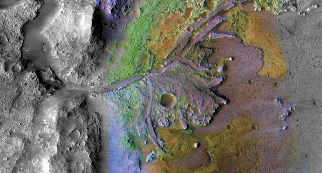 On ancient Mars, water carved channels and transported sediments to form fans and deltas within lake basins. Examination of spectral data acquired from orbit show that some of these sediments have minerals that indicate chemical alteration by water. Here in Jezero Crater delta, sediments contain clays and carbonates. The image combines information from two instruments on NASA's Mars Reconnaissance Orbiter, the Compact Reconnaissance Imaging Spectrometer for Mars and the Context Camera. Credits: NASA/JPL/JHUAPL/MSSS/Brown University