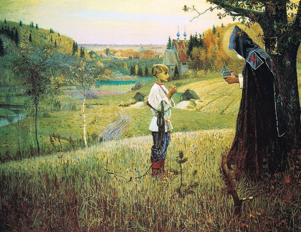 A Visão do Jovem Bartolomeu - Pinturas de Mikhail Nesterov - (Simbolismo) Russo