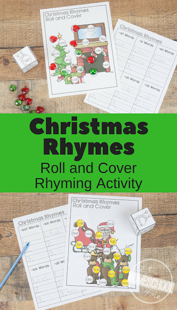 FREE Christmas Rhymes Worksheets - these free printable rhymes for kids are a fun activity for preschool, kindergarten, first grade, and 2nd grade kids. Such a cute, rhyme worksheet perfect for Christmas learning