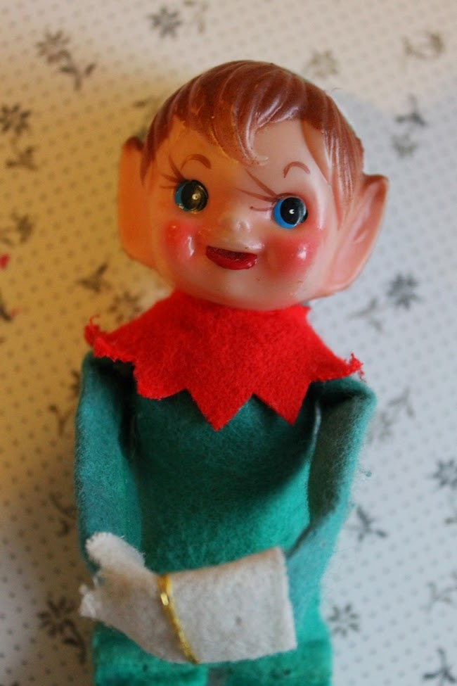 vintage 1950s elf on a shelf retro pixie christmas ornament