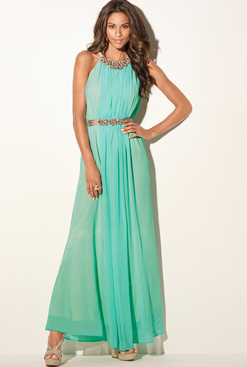 Boston Proper Beaded Goddess Maxi Dress