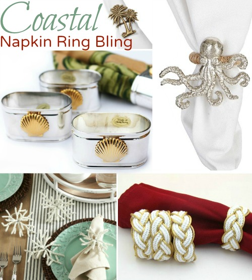 Coastal Nautical Napkin Ring Holders for Table Bling