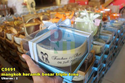 mangkok keramik besar triple tone