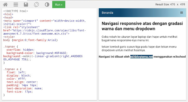 contoh pembuatan menu navigasi blogger dengan gradasi warna