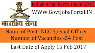 Join Indian Army Recruitment 2017- NCC Special Entry Scheme 42nd Course