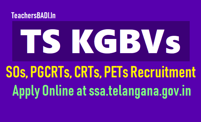 sos,pgcrts,crts recruitment in new kgbvs,telangana kgbvs sos,pgcrts,crts recruitment,kgbvs teaching and non-teaching staff recruitment 2018
