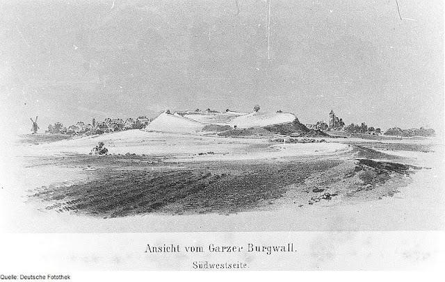 XIX wieczna rycina grodziska w Garz na wyspie Rugia