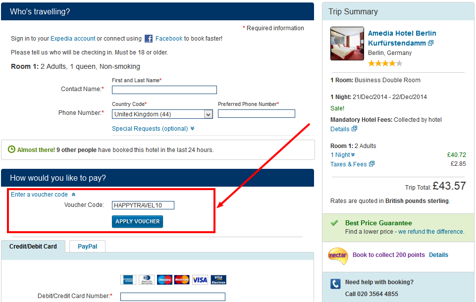 10% Expedia promo code - for bookings until 4 August 2014