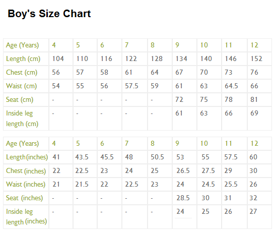 Children S Size Chart For Various Clothes By Age And Body