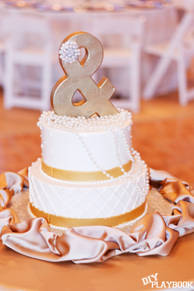 Beautiful wedding cake with topper
