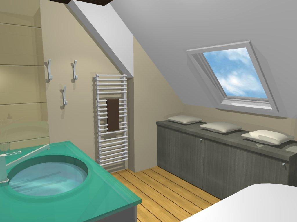 Inspiration salle de bain: Salle de bain sous pente zen