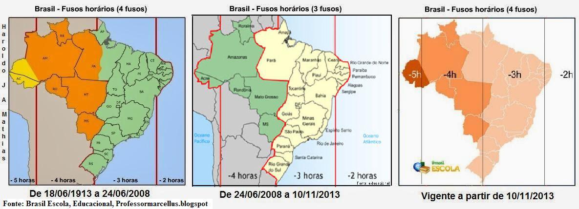 78b1e97eab6 A imagem acima resume as mudanças na definição dos fuso-horários que o  Brasil passou recentemente