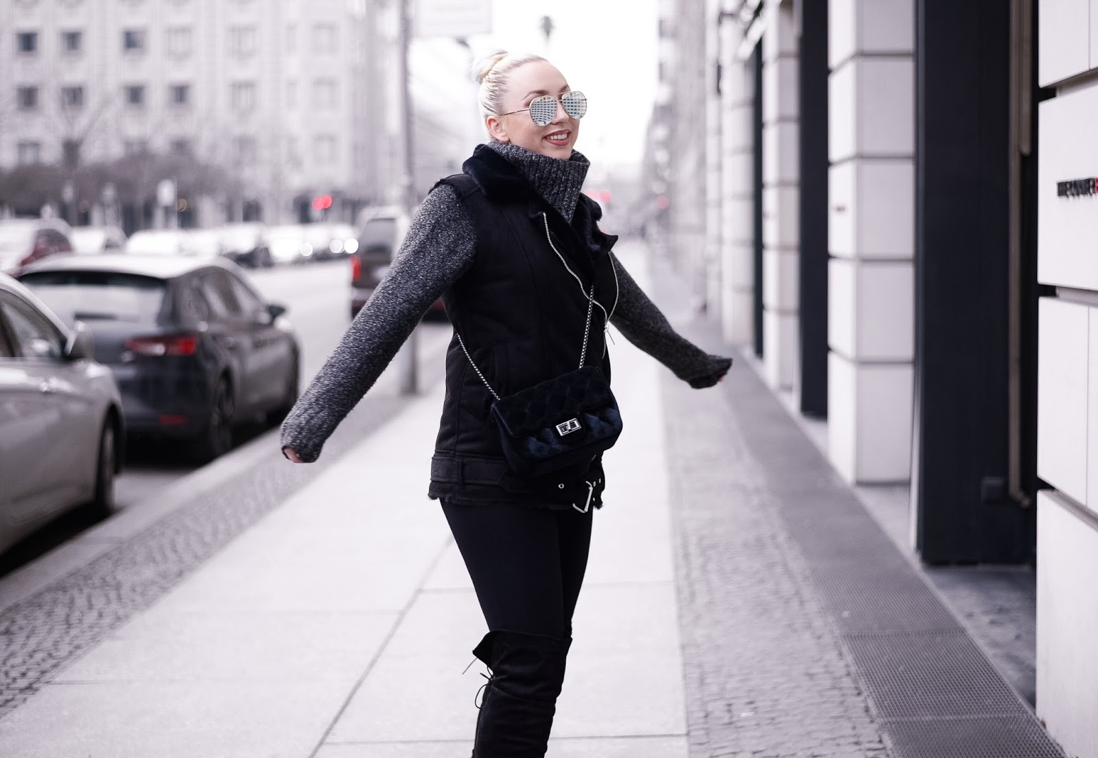 chunky knit_winter streetstyle_all black outfit_ootd