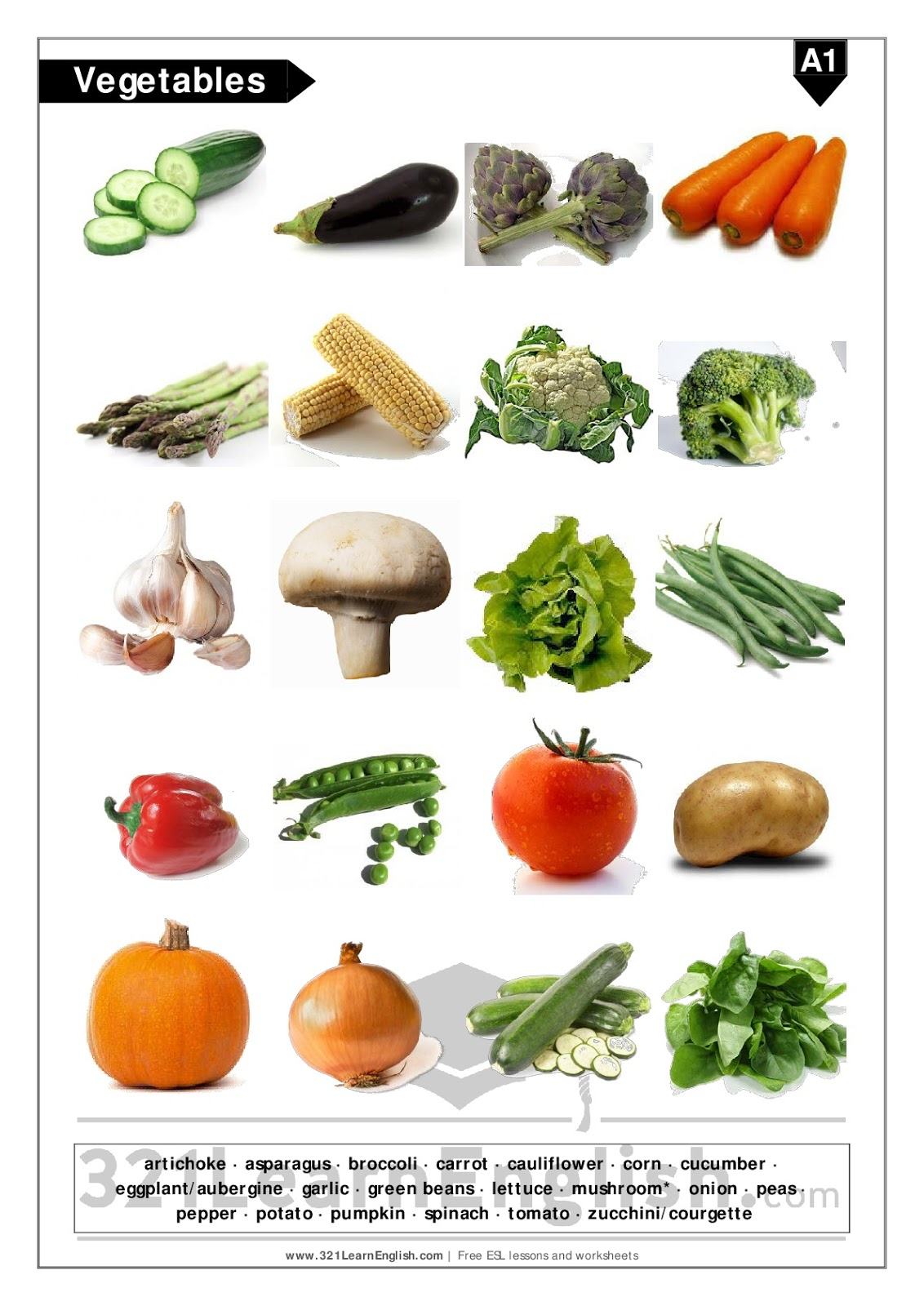321 Learn English Vocabulary Vegetables Basic