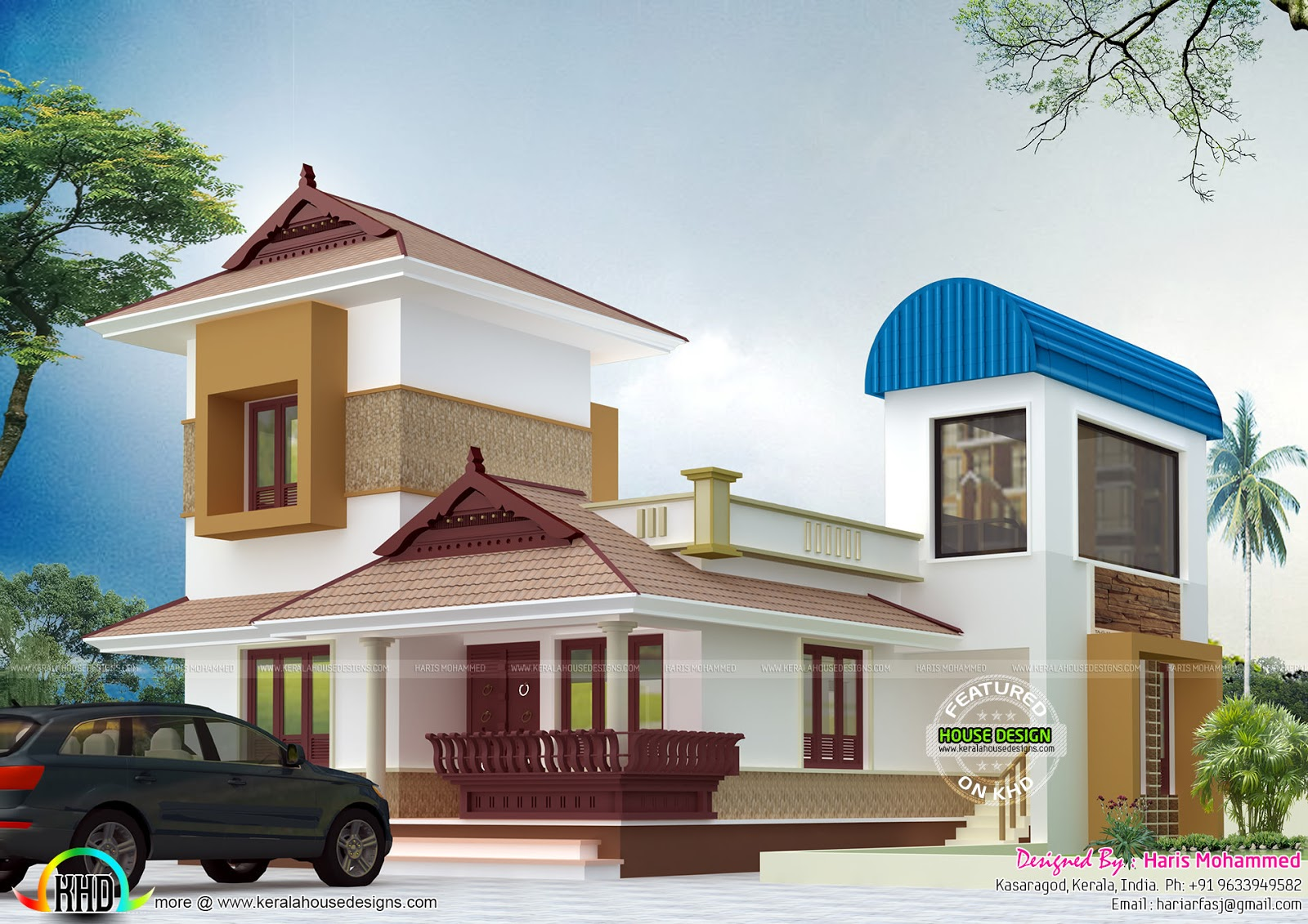 Half traditional half modern home kerala home design and for New traditional house plans