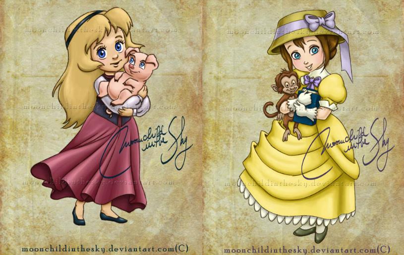 Senhorita Meow Princesas da Disney como crianças Ilustrações