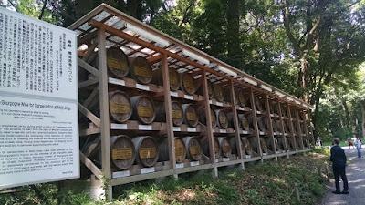 Racks of dozens of wine barrels given by the French.