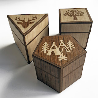 Rustic wood effect gift boxes made with Silhouette Wood Effect Vinyl. Designer Janet Packer (Crafting Quine) for Silhouette UK. Polygon boxes by Lori Whitlock.