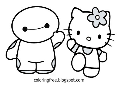 Easy Disney coloring big hero 6 Hello Kitty cute Baymax drawing creative cartoon ideas for beginners