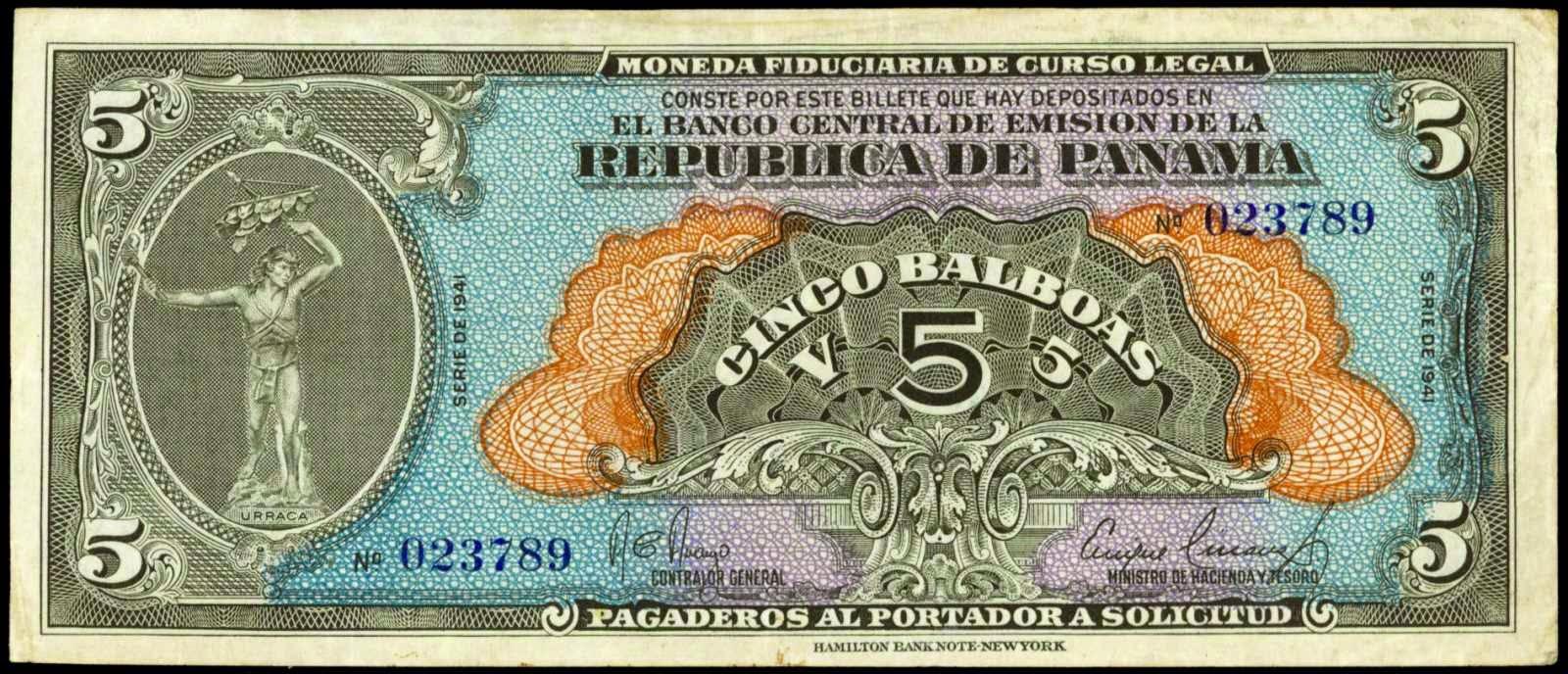 Panama banknotes paper money 5 Balboas note 1941