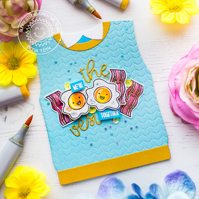Sunny Studio Stamps: Sweater Vest Dies Loopy Letter Dies Breakfast Puns Happy Thoughts Cards by Mona Toth and Franci Vignoli