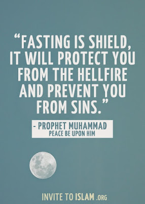 Ramadan Mubarak Wishes Cards: fasting is shield, it will protect you from the hellfire