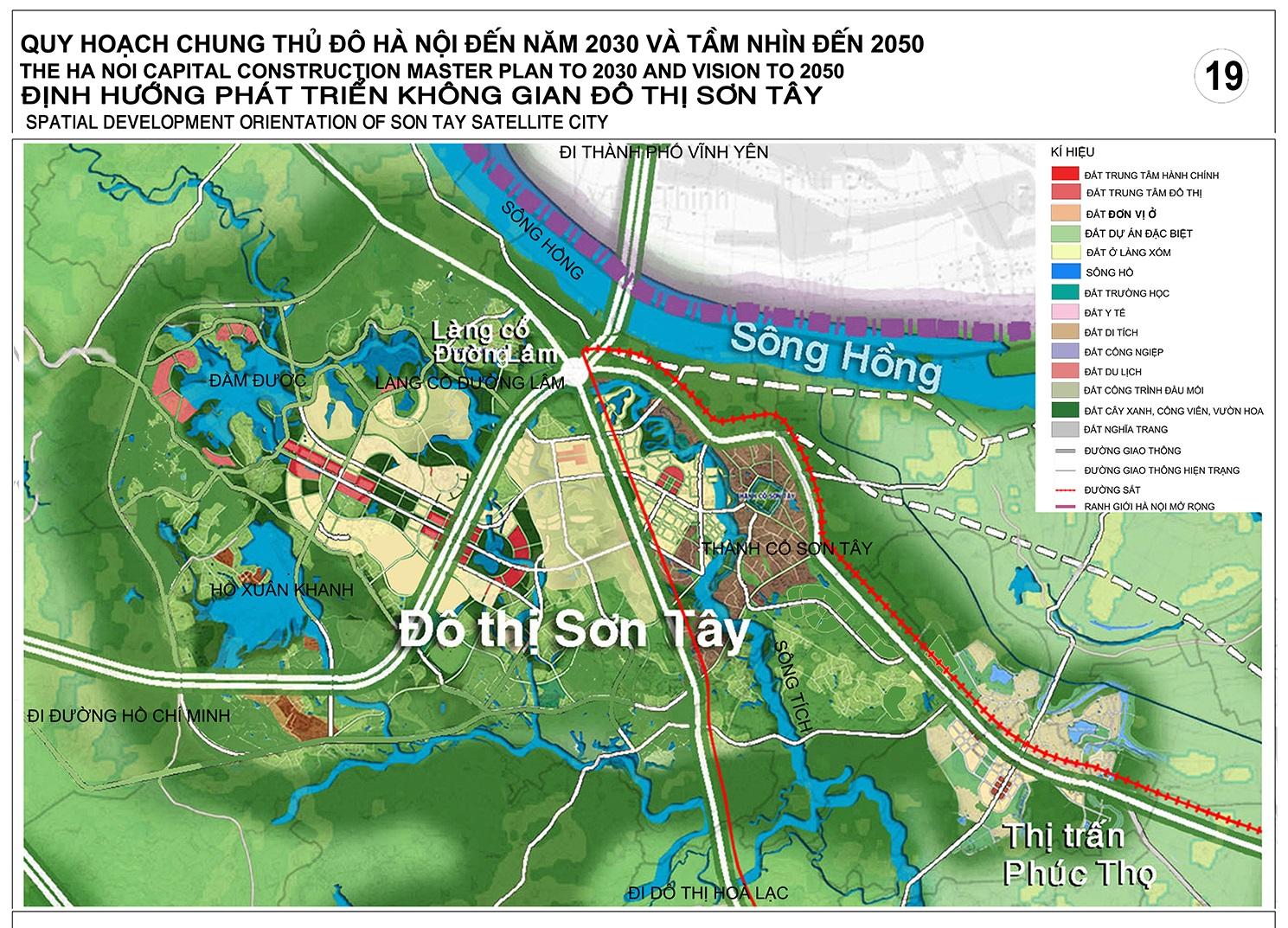 Bản đồ quy hoạch Sơn Tây đến năm 2030