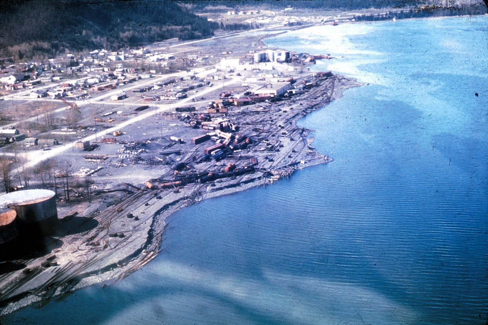 The waterfront of Seward, Alaska, weeks after the earthquake, looking north. Note the