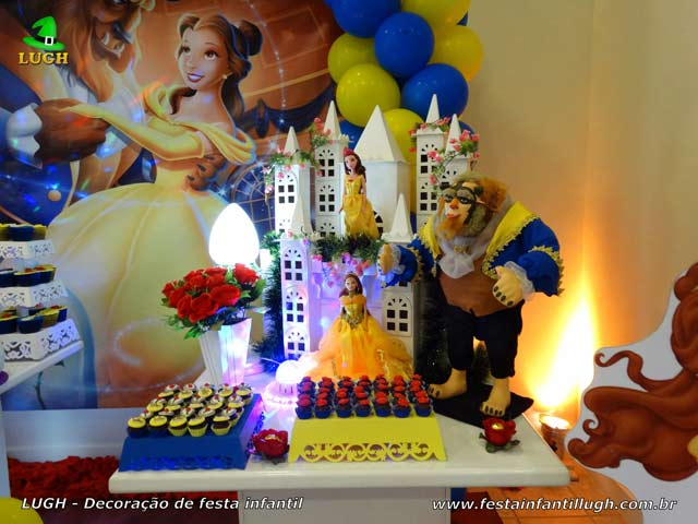Decoração de aniversário A Bela e a Fera - Mesa decorativa infantil