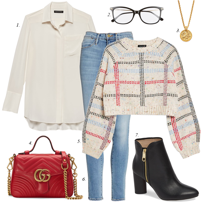 skinny jeans sweater blouse gucci bag black boots