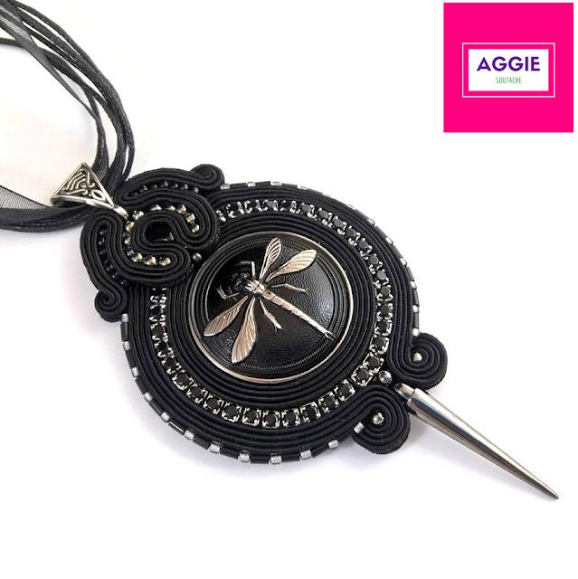 Black silver dragonfly soutache pendant