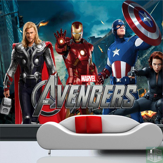 Avengers wall mural childrens room 3D marvel comics Photo Wallpaper Kids Boys super hero the avengers movie logo thor ironman captain america