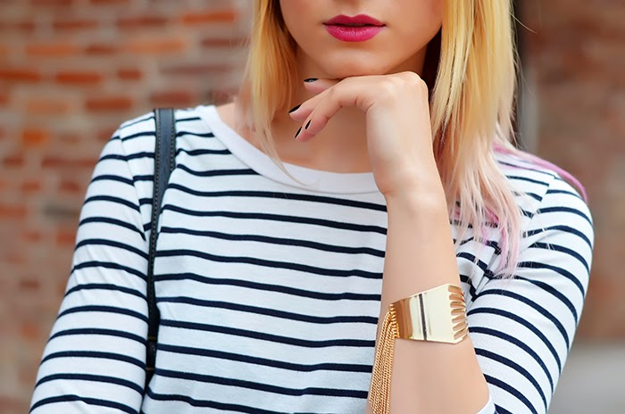 striped shirt Asos bonjour belt Kristin Perry fringe bracelet
