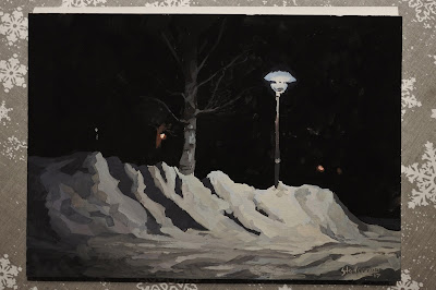 Gouache painting of a streetlight shining on a tree and snow on the ground. adam stolterman