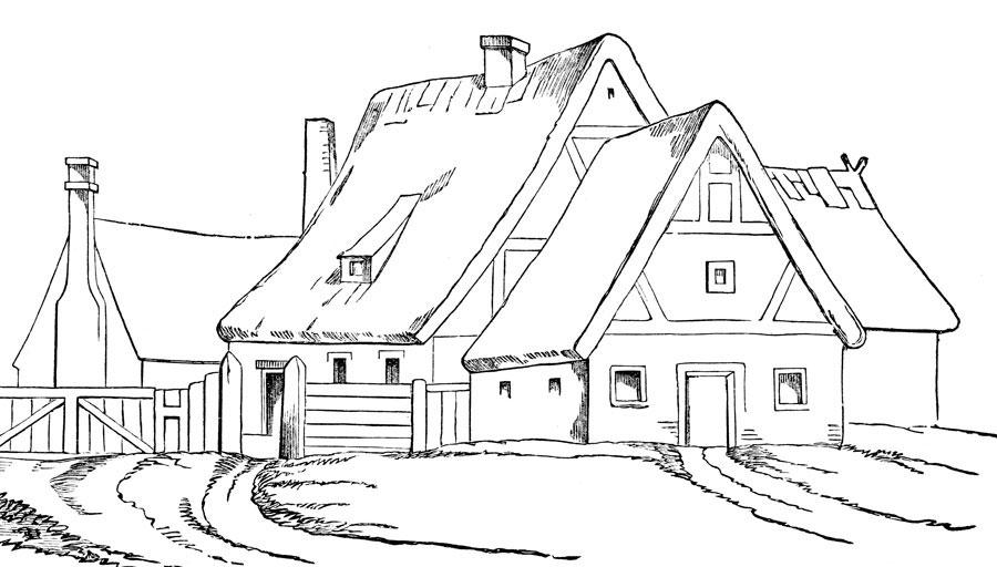 Hermosa Casa En Las Montañas Para Pintar Y Colorear Dibujos Para