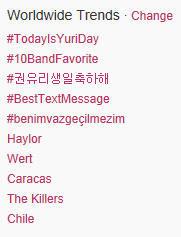 Yuri trending topic worldwide