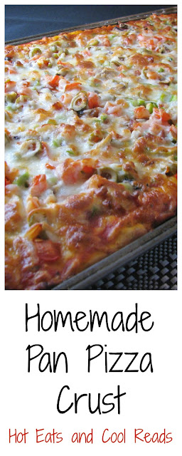 Enjoy pizza night at home with this no fail pan crust recipe! Just like the restaurant, but homemade! Homemade Pan Pizza Crust Recipe from Hot Eats and Cool Reads