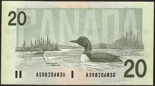 Canada money currency 20 Dollars banknote 1991 Birds, two common loons swimming on a lake