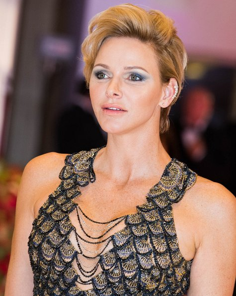 Princess Charlene wore Atelier Versace marmaid gown