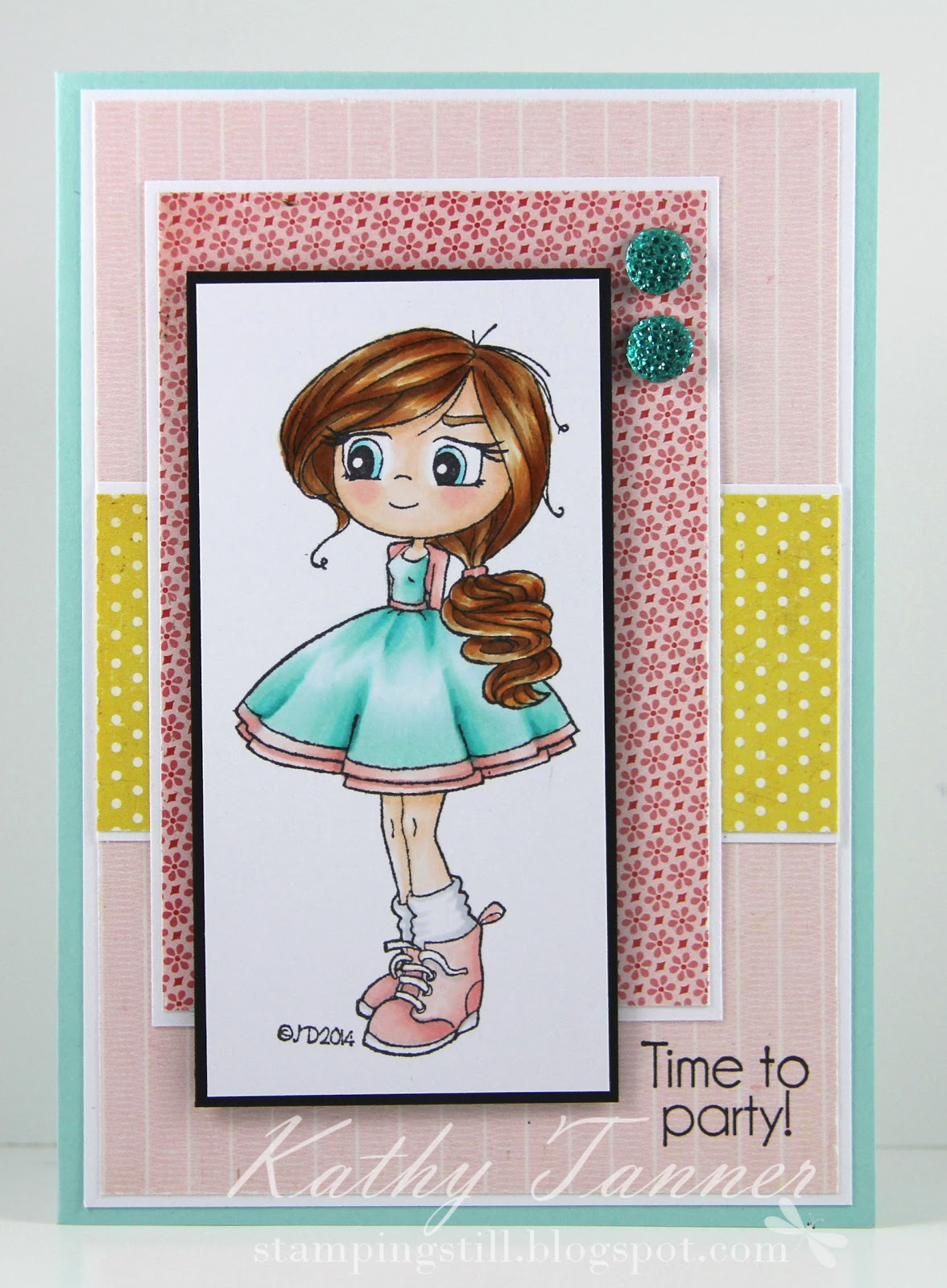 ponytail, time for tea, whimsy stamps, jo davies