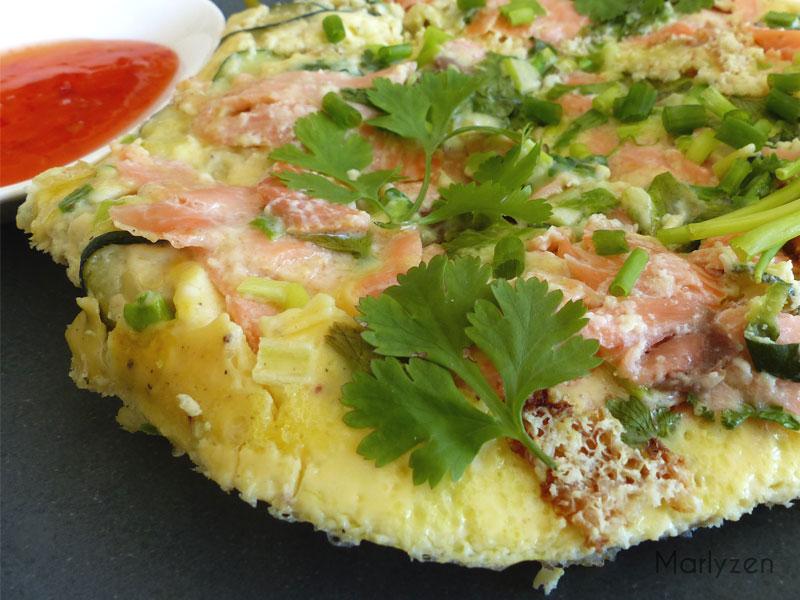 Frittata revisitée au saumon fumé et à la courgette